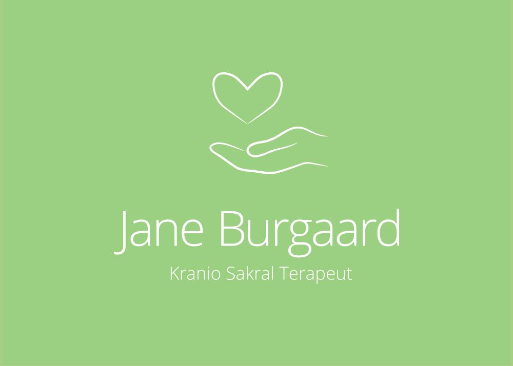 Jane Burgaard Logo, Kranio Sakral Terapi, Negativt på grøn, hånd med hjerte