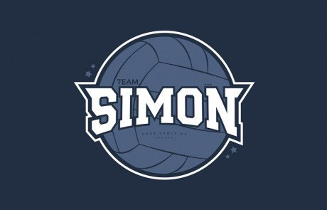 Logo til volleyholdet: Team Simon 2018, volleyball, stjerner