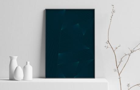 Plakat, mockup af plakat på afsats, lines, blå og blågrønne farvede linjer der krydser ind over hinanden i 3 graders vinkler