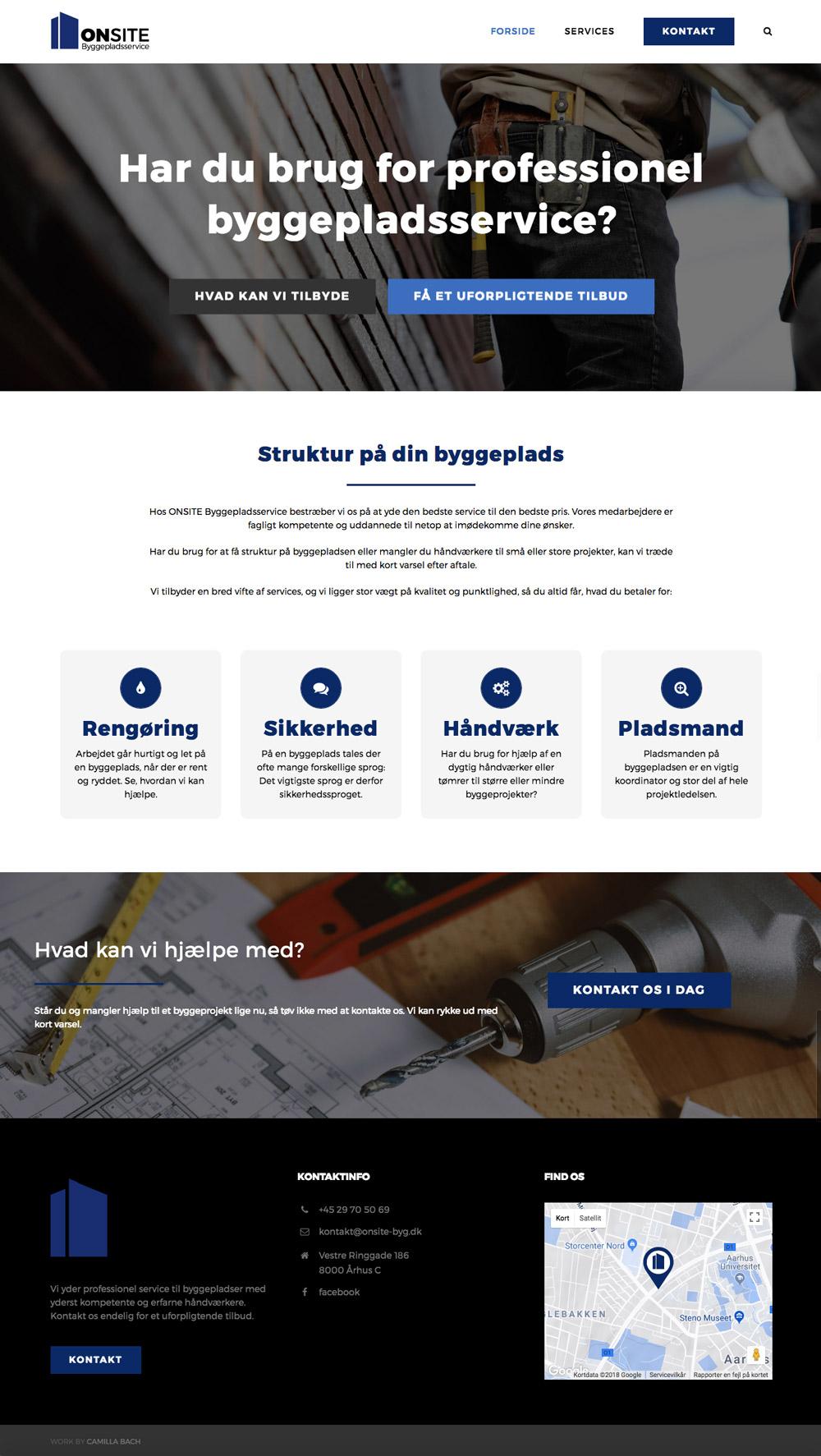 ONSITE Byggepladsservice, hjemmesidens forside, byggepladsservices: Rengøring, sikkerhed, håndværk og pladsmand.
