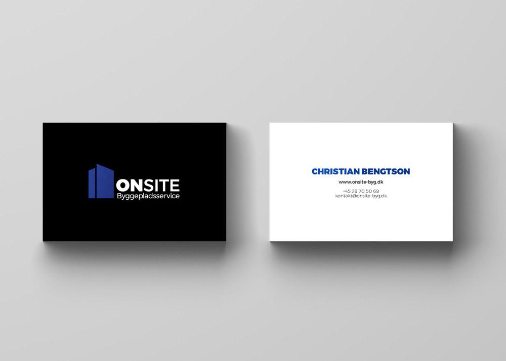 ONSITE Byggepladsservice, visitkort, forside og bagside, Christian Bengtson, www.onsite-byg.dk, telefonnummer: 29705069, mail: kontakt@onsite-byg.dk