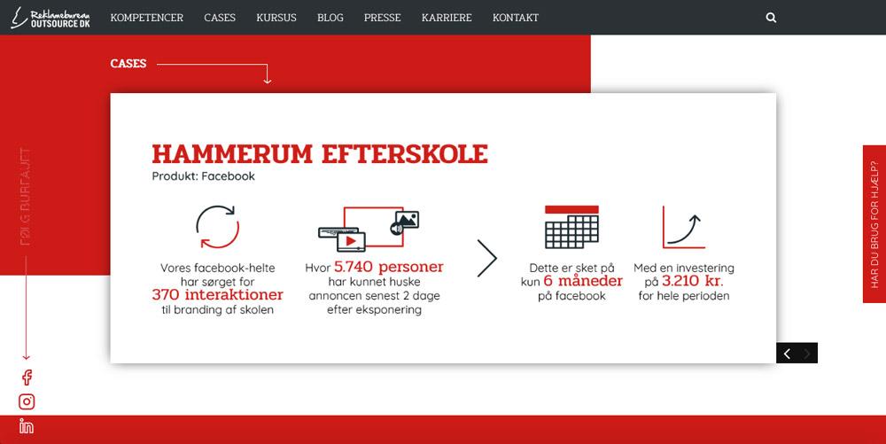 Outsource DK, ikoner i forsideslider med interaktioner, eksponeringer, tid og investering ved facebook-kampagne